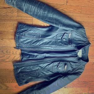 Michael Kors grey genuine leather jacket